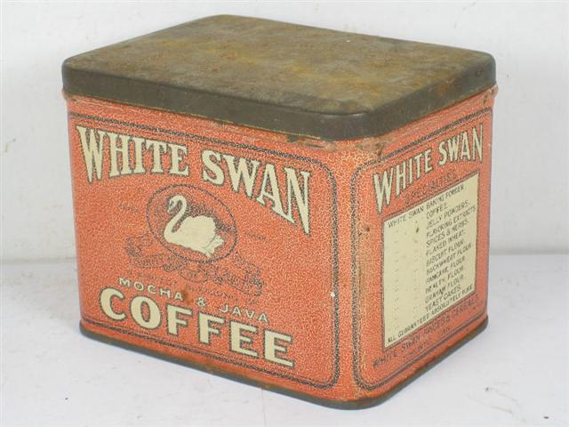 old shop stuff old tin white swan coffee tin can