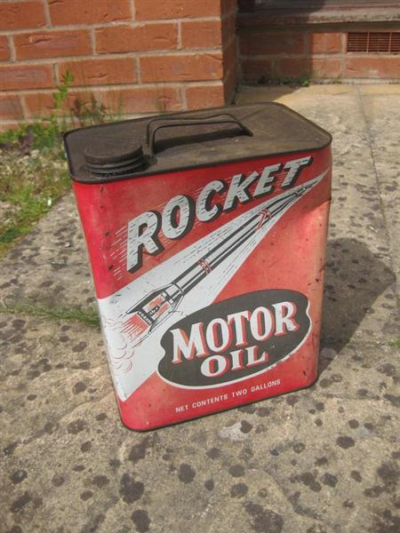 old shop stuff old oil can rocket motor oil from us for