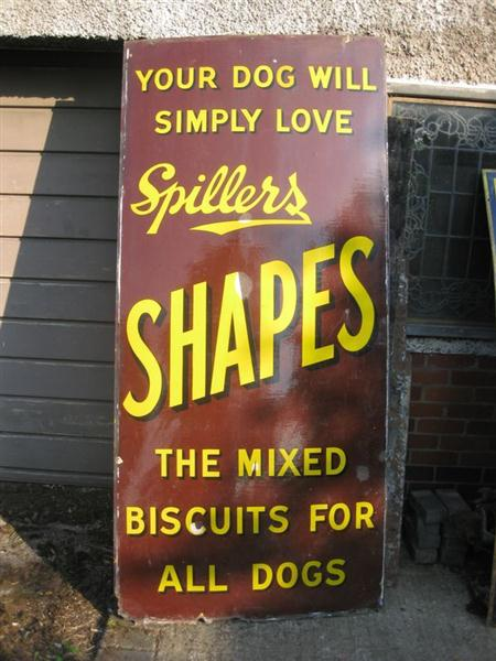Old Shop Stuff Old Enamel Shop Sign Giant Spillers Dog