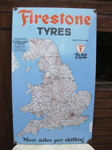 Old shop stuff old enamel sign garage firestone tyres uk map for item old enamel sign garage firestone tyres uk map gumiabroncs Gallery