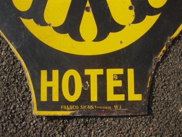Old Shop Stuff Aa Hotel Enamel Sign For Sale 13267