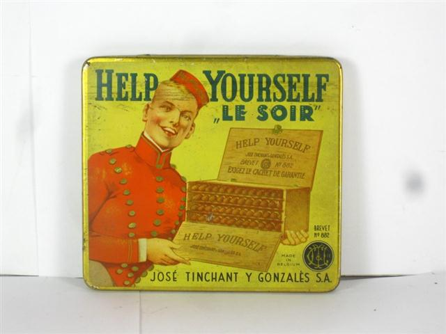 old shop stuff old tobacco cigarette tin boite ancienne help yourself le soir for sale 19657. Black Bedroom Furniture Sets. Home Design Ideas