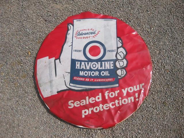 Old shop stuff old vinyl sign for sale havoline motor for Sale on motor oil