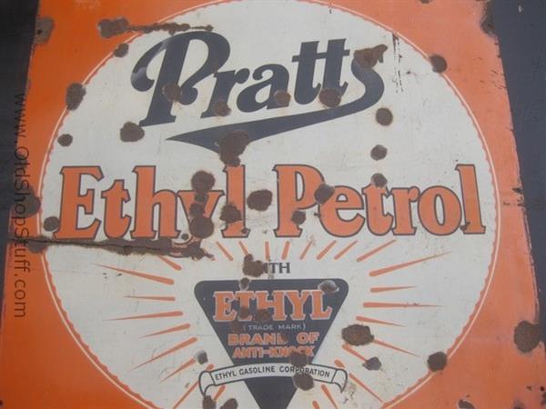 Old Shop Stuff Old Metal Enamel Sign Pratts Ethyl Petrol