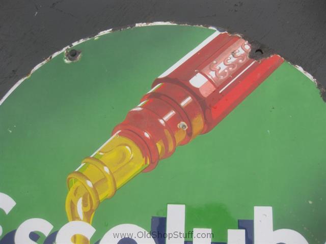 Old Shop Stuff Old Metal Enamel Sign Essolube Oil Bottle
