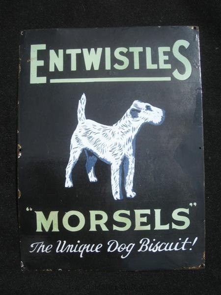Old Shop Stuff Old Enamel Sign Entwistles Dog Food With