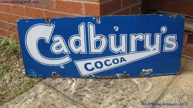 Old Shop Stuff Old Enamel Sign Cadburys Cocoa For Sale