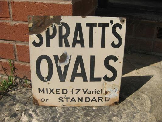 Old Shop Stuff Old Enamel Shop Sign Spratts Ovals Dog