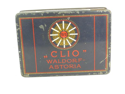 Old shop stuff old cigarette tin clio waldorf astoria for Waldorf astoria antiques