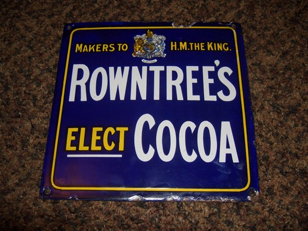 super rare rowntrees elect cocoa enamel sign advertising antiques oldshopstuffcom home